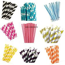 20 Retro Stripe Dot Vintage Paper Drinking Straws