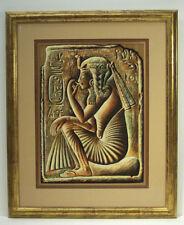 Egyptian Hieroglyphics w/figure original art by Mosef Labib, conservation framed