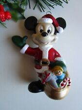 Walt Disney Plastic Mickey Mouse Santa With Sack Of Toys Christmas Ornament
