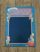 Rare original WHISTLE soda sign with elves, large early 1900s