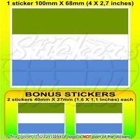 "SIERRA LEONE Flag WEST AFRICA Vinyl Bumper, Decal Sticker 4"" (100mm) x1+2 BONUS"