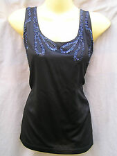 Portmans Top black sleeveless beaded Ladies Size 10 Stretch