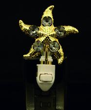 24K Placcato Oro Cristallo Swarovski Borchiato Star Fish Sensore Luce Notturna