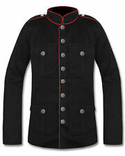 """MILITARY """"OFFICER"""" JACKET Black with White or Red Trim Goth Steampunk Cosplay"""