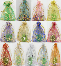 100Pcs Sheer Organza Drawstring Jewelry Bag Candy Pouch Wedding Package Supplies