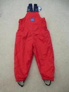 BNWT 🌧️❄️ JOJO MAMAN BEBE Waterproof Fleece Lined DUNGAREES 12-18m RED Padded