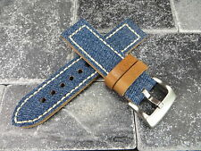 24mm BIG CANVAS LEATHER STRAP BLUE JEANS Watch Band White Stitch PAM 24 X1