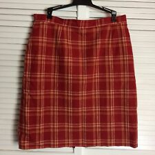 ADOLFO STUDIOS Red Plaid Skirt Womens size 16 Fully Lined Knee Length Career
