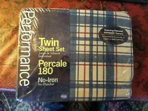 Vintage Performance by Springs percale 180 Twin Sheet Set Marian Navy NOS