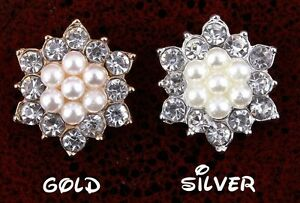 """5/8"""" Artificial Sparkly Snow Shape Alloy Rhinestone Pearl embellishment set of 4"""