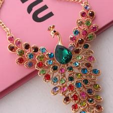 Colorful Rhinestone Crystal Peacock Choker Statement Bib Necklace Charm Jewelry