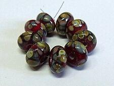 Handmade lampwork bead set, red paisley