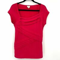 Women's Size Medium Red Anthropologie Postmark Front Pleated Top