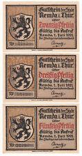 Remda 20, 30 & 50 Pf. 01.07.1921 Kontrollnummer gedruckt, letzte Ziffer gestempe