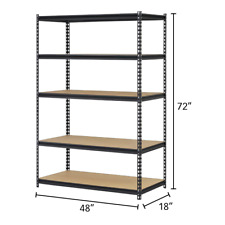 New Muscle Rack Heavy-Duty 5-Shelf Steel Shelving 48x18x72 Garage Shop Storage