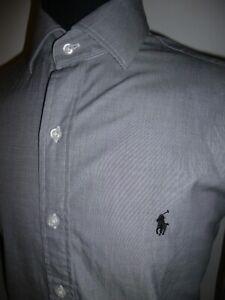 Men's Ralph Lauren Polo Shirt Grey Long Sleeve Cotton Top Size 15.5 39cm Medium