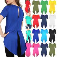 Womens High Low Dip Hem Ladies KeyHole Back Split Cut Out Dress Long T Shirt Top