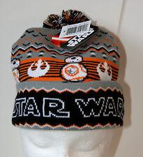 Star Wars BB-8 Droid Pom-Pom Snowflake Sweater Look Knit Cap Hat New 2016