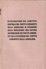 1948 – PARTITO COMUNISTA DELLA JUGOSLAVIA – POLITICA COMUNISMO COMITATO CENTRALE