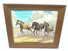 Wood Frame Original Running Horses Unsigned Brown Mustangs Acrylic Painting Old