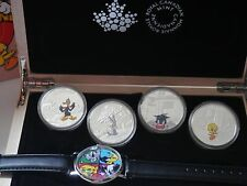2015 CANADA $20 FINE SILVER 4-COIN AND WRIST WATCH SET -LOONEY TUNES, NEW MINT !