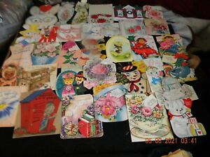 LOT #1 MOSTLY VINTAGE DIE CUT GREETING CARDS - CHRISTMAS/VALENTINES/BIRTHDAY +++