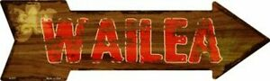 "Wailea Hawaiian Themed Novelty Metal Arrow Sign 17"" x 5"" Wall Decor - DS"