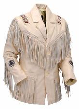 Men-Women Cream Native American Fringe Cowhide Leather Jacket Western Wear Coat