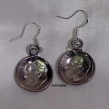 1996 DIME EARRINGS 22nd BIRTHDAY ANNIVERSARY GIFT! DISHED COIN JEWELRY 925 HOOKS