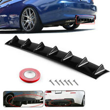 7 Shark Fins Universal Black ABS Rear Bumper Spoiler Wing Diffuser Decoration