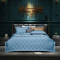 Cotton Plaid Duvet Cover Set Checkered Blue Bedding Set 4Pcs Cover Set Bed Sheet