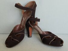 True Vintage 1940's WOMEN'S BROWN SUEDE GOLD PIPING HEELS SHOES 7AAAA Peep Toes
