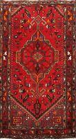 Geometric Hamedan Hand-knotted Tribal Area Rug RED Oriental Wool Carpet 3x5 ft