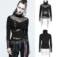 Punk Rave T-480 Goth Diesel Punk Long Sleeve Black Transparent Asymmetric Top