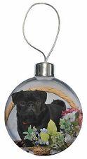 Black Pug Dog Christmas Tree Bauble Decoration Gift, AD-P95CB