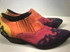 Vintage 80s 90s Circle S Cowgirl Western Southwestern Ankle Boots Rainbow