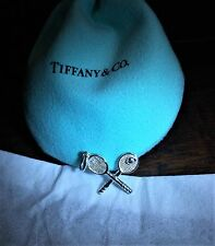 $155 Tiffany & Co Sterling Silver 925 Tennis Racquet Charm Pendant with Pouch