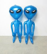 """2 NEW INFLATABLE BLUE SPACE ALIENS 36"""" BLOW UP INFLATE ALIEN HALLOWEEN PROP"""