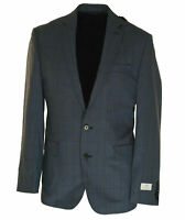 Ryan Seacrest Men's Modern Fit Two Button Suit Jacket Blazer Blue Plaid