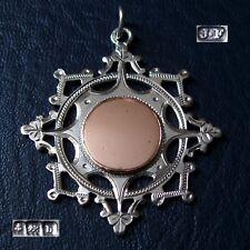 Antique Victorian argent massif et or Fab médaille pour une montre Chaîne/Pendentif