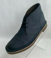 Clarks Chukka Ankle Boots Mens Navy Blue Leather Lace Up Shoes Size 10.5M