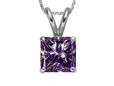 Square Purple Amethyst Princess-Cut 14k White Gold Pendant w/ 16 Inches Necklace