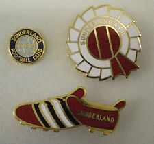3 x Sunderland A.F.C. Football Club SMALTO PIN BADGE LOTTO Rosetta, Boot