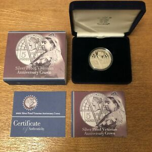 Solid Silver Proof Coin Victorian Anniversary Crown 2001 1oz 925