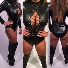 Connie's Lace Up Chest Black Wet look Bodysuit with Zipper Back Closure XL