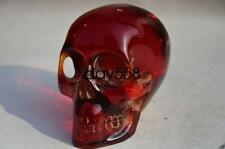 11.5 cm */Collectible Decorate Handwork Old Burmese amber carving skull statue