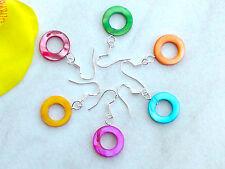 Ohrringe *PERLMUTT Kreis Ohrhänger Muschel Perlen 15mm Ohrschmuck Farbwahl