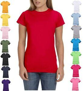 NEW WOMEN'S GIRLS PLAIN T SHIRT CREW NECK TOP SUMMER T-SHIRT 100% COTTON 8 - 22