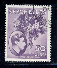 SEYCHELLES 141 SG144b Used 1949 50c bright vio KGVI Defin Coco-de-mer Palm Cat$4