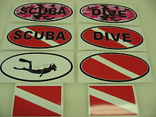 PINK SCUBA DIVE FLAG OVAL Sticker Decal LOT Camo Camoflage boat car LADIES